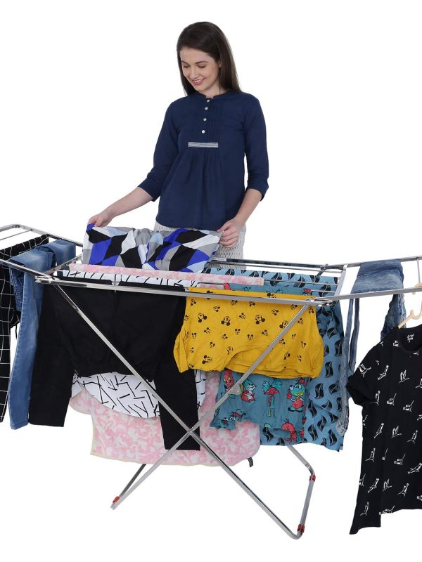 Cloth dryer stand : stainless steel cloth dryer stand.Double Rack Cloth Stands